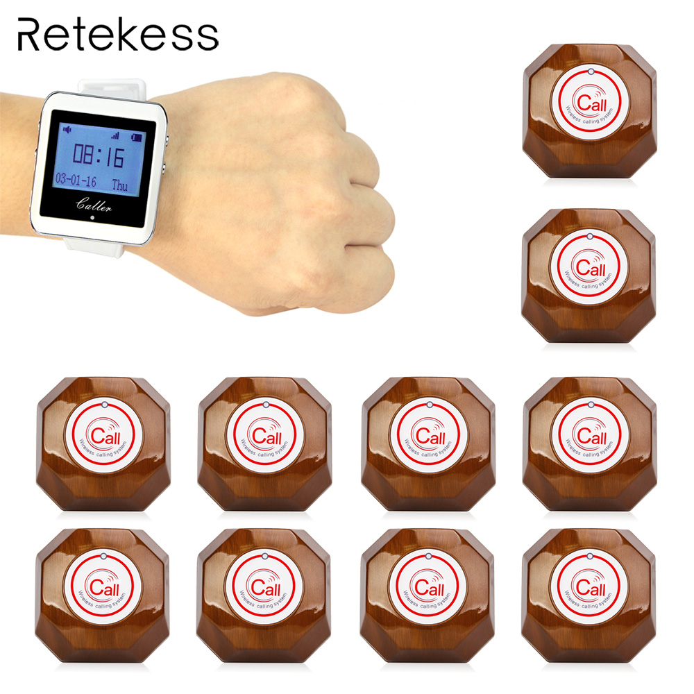 Retekess Wireless Calling System 1 Watch Receiver+10 Call Button Pager Restaurant Equipment For Fast Food Cafe Hospital F3288B недорго, оригинальная цена