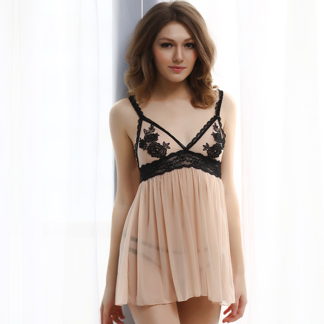 2016 новый женский sexy кружева цветок вышивка сетка марли весело прозрачные ночные сорочки и стринги набор