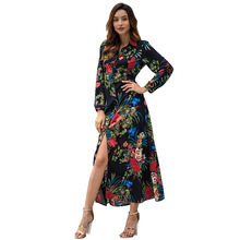 Women Maxi Dress Boho Tropical Floral Print Bohemian Long Sleeve Turn-down Collar 2019 Spring Front Button Holiday Long Dresses 2019 spring summer long dress women floral print maxi long dresses casual pocket turn down collar button shirt dress vestidos