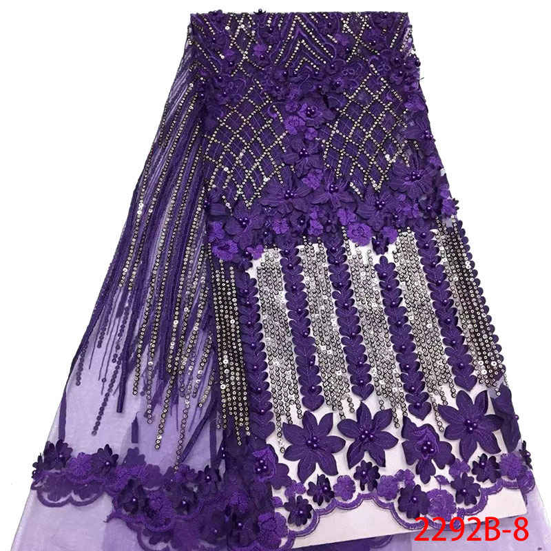 Latest Style Purple African Lace Fabric 2019 High Quality Lace Embroidery French Mesh with Beads Nigerian