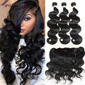 Ear To Ear Lace Frontal Closure With Bundles Brazilian Virgin Hair Body Wave With Closure Human Hair Bundles With Frontal Closur