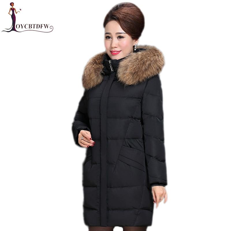 Femmes d'hiver vers le bas manteau 2018 mode nouveau solide couleur Plus taille mi-long Haute-fin col de fourrure à capuchon chaud femelle vers le bas veste ll793