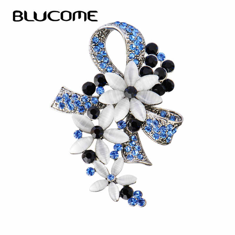 a305e8cc8 Blucome Vintage Turkish Brooches Flower Bowknot Brooch For Women Scarf  Simulated Opals Antique Silver Color Hijab