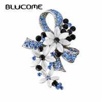 Blucome vintage broches turcos flor bowknot broche para as mulheres cachecol simulado opala cor de prata antigo hijab pino bijuterias