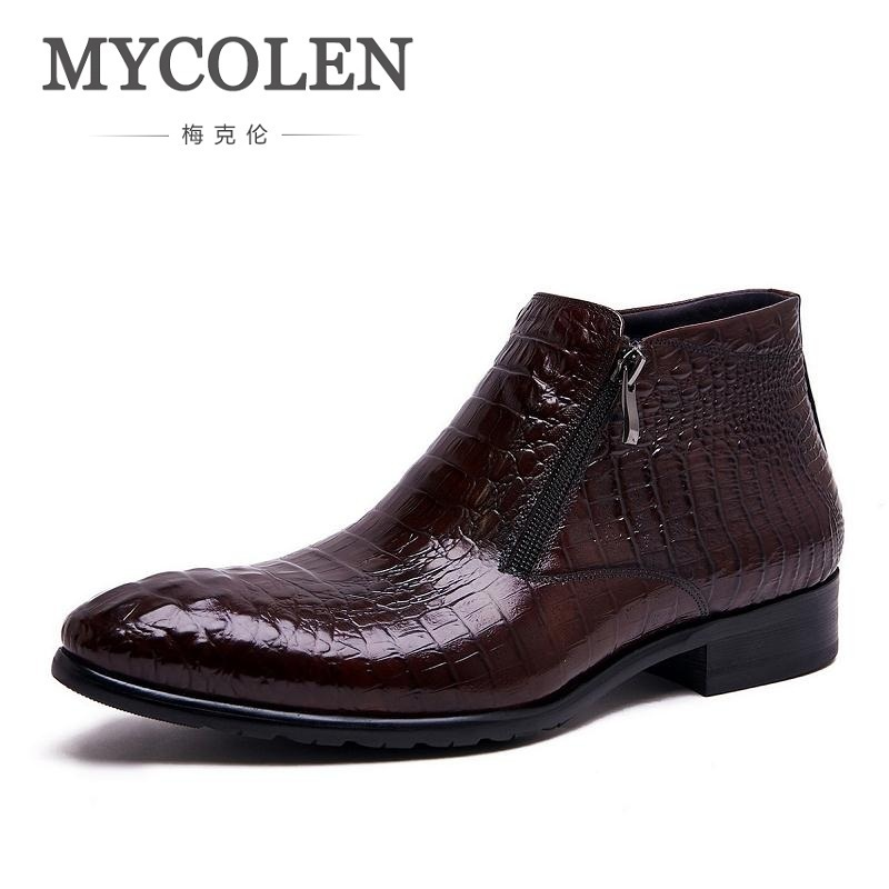MYCOLEN Men's Genuine Leather Ankle Boots Man Pointed Toe Punk British Style Chelsea Boot Zipper Mens Business Casual Shoes farvarwo formal retro buckle chelsea boots mens genuine leather flat round toe ankle slip on boot black kanye west winter shoes