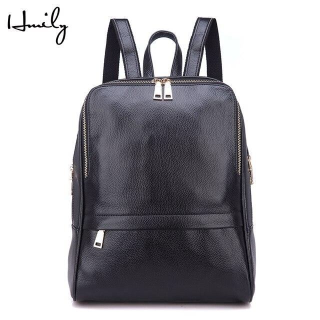 HMILY Women Bag Natural Leather Women s Backpack Genuine Leather Travel Bag  Female Designer Laptop Backpack Solid School Bag d1741636aa