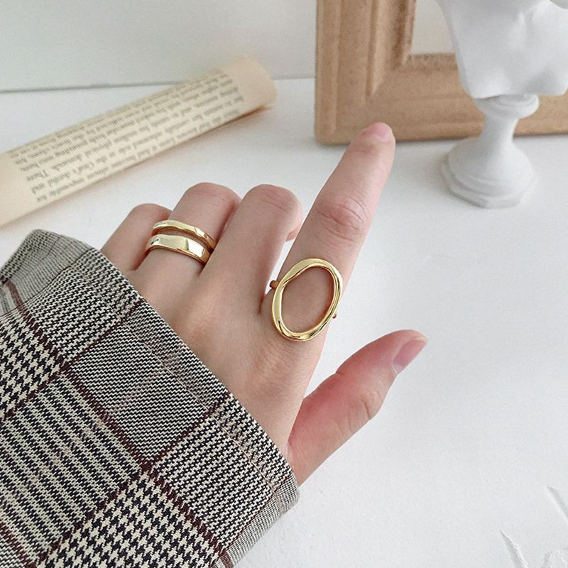 Silvology 925 Sterling Silver Irregular Openwork Oval Rings Minimalist Elegant Geometric Rings For Women 2019 Japan Jewelry Gift