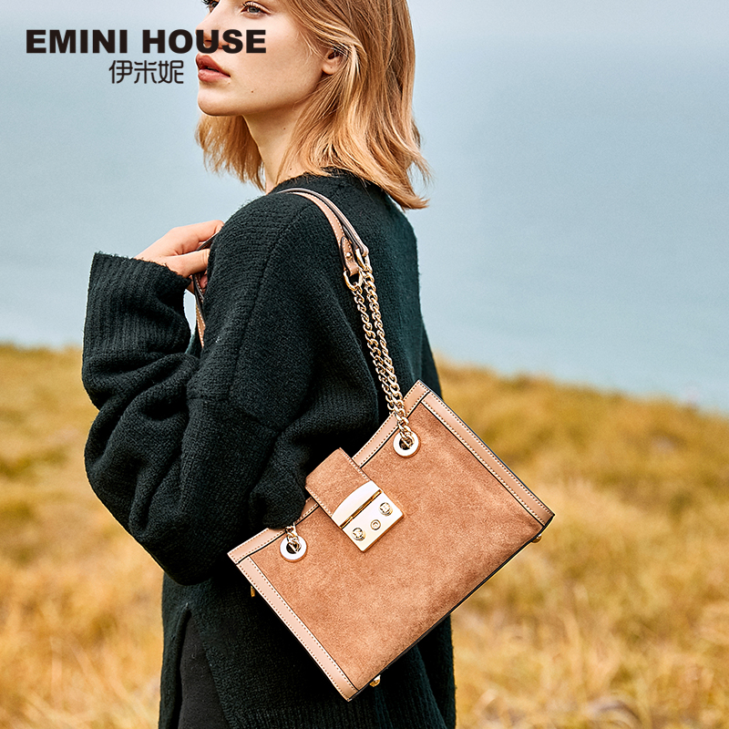 EMINI HOUSE Genuine Leather Crossbody Bags For Women Padlock Exquisite Shoulder Bag Female Women Messenger Bags Chian Strap