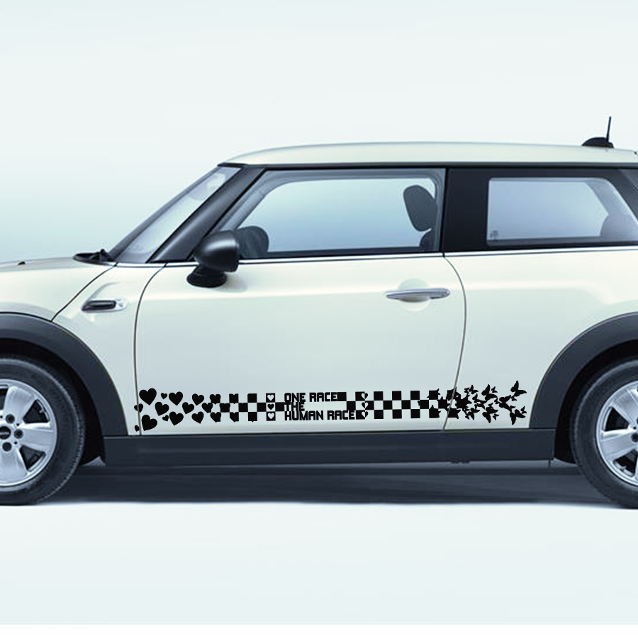 free shipping flower love peace graphic vinyl stripe car sticker for john cooper works hatch or cluman country man