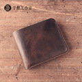 Handmade leather wallet men brief paragraph cowhide leather wallet restoring ancient ways is crazy horse leather cross section