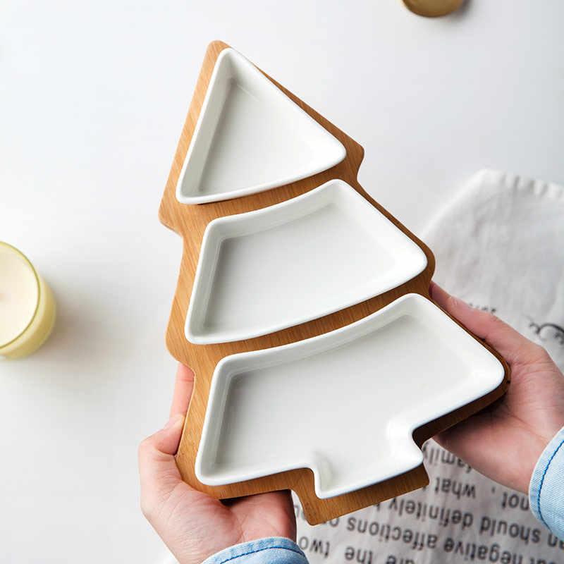 Рождественский керамический посуда салат, торт фрукты блюда для десертов конфеты фарфоровые тарелки Ресторан деревянный поднос Рождественские декоративные подкладки