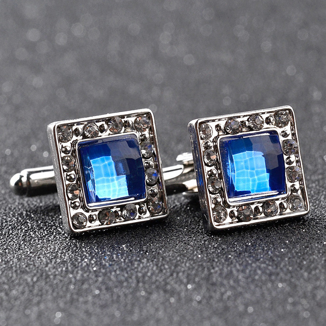 Luxury Blue Crystal White Rhinestones Cufflinks Mens Shirt Jewelry Trendy Geometric Twins Buttons