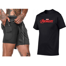 New 2 in 1 Running Shorts Security Pockets Leisure Built-in Pockets Quick Drying Sport Shorts+Marvel Avengers Causal Men T shirt