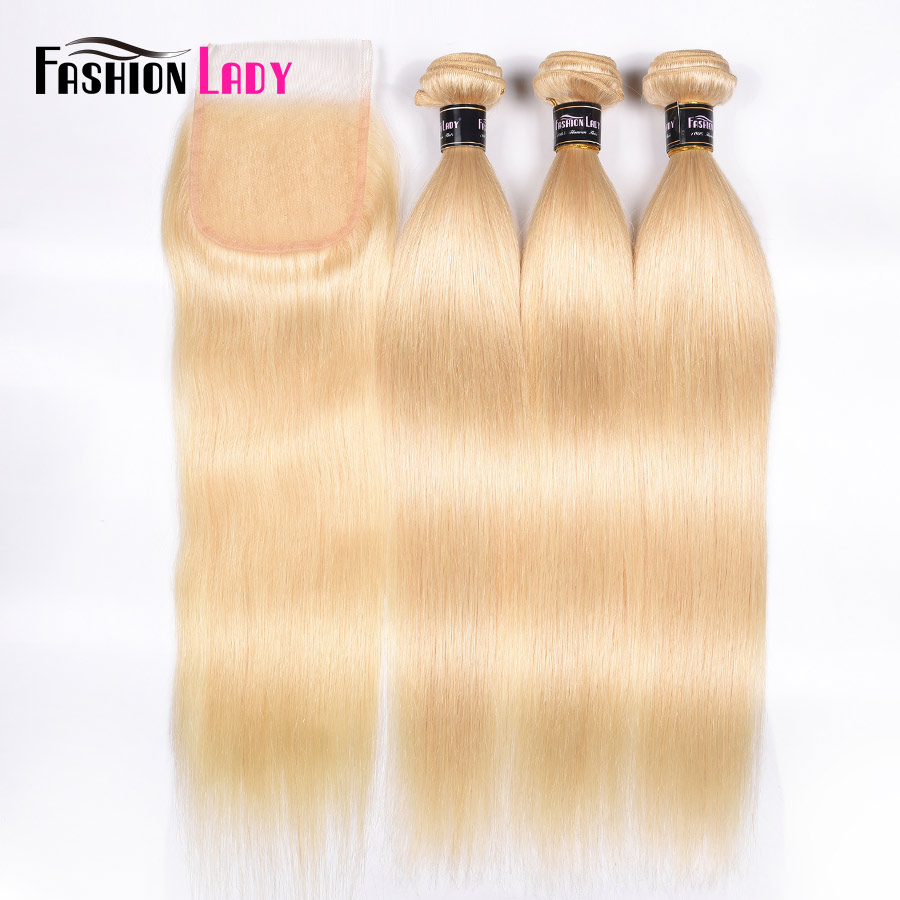 Fashion Lady Brazilian Remy Hair Platinum Blonde Hair Bundles With Closure 100% Human Hair 3 Bundles With Lace Closure Free Part