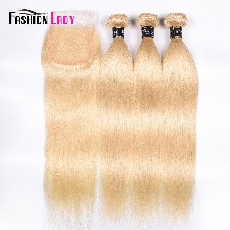 Fashion Lady Brazilian Remy Hair Platinum Blonde Hair Bundles With Closure 100% Human Hair 3 Bundles With Lace Closure Free Part