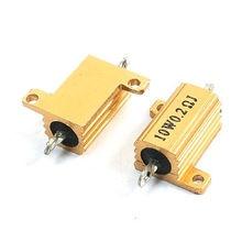 2Pcs Gold Tone Chassis Mounted Aluminum Clad Power Resistors 10W 0.2 Ohm