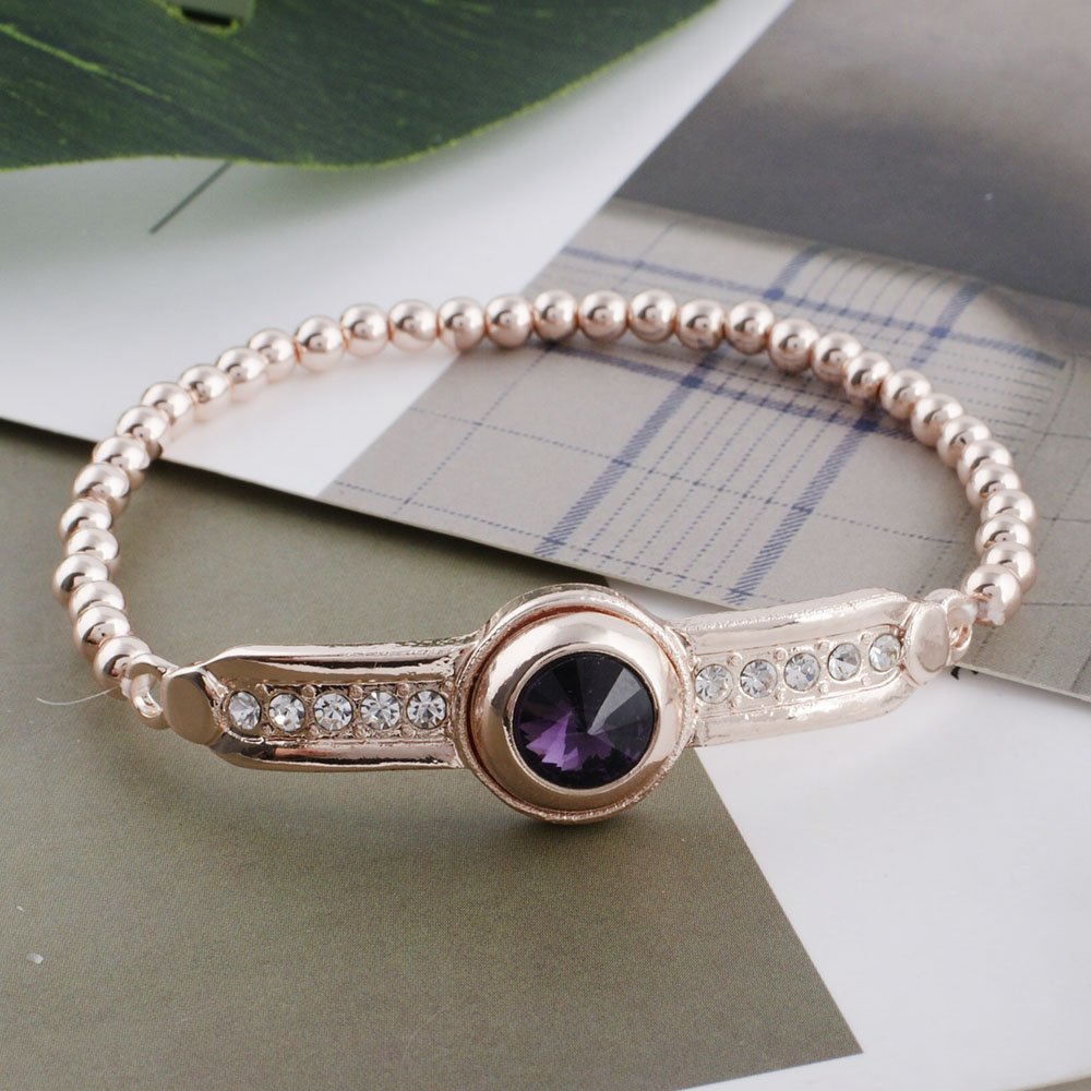Round Micro Rhinestore Adjustable Rose Gold Color Snap Button Bracelet Jewelry Fit 12mm Austrian Crystal Top Quality Wholesale