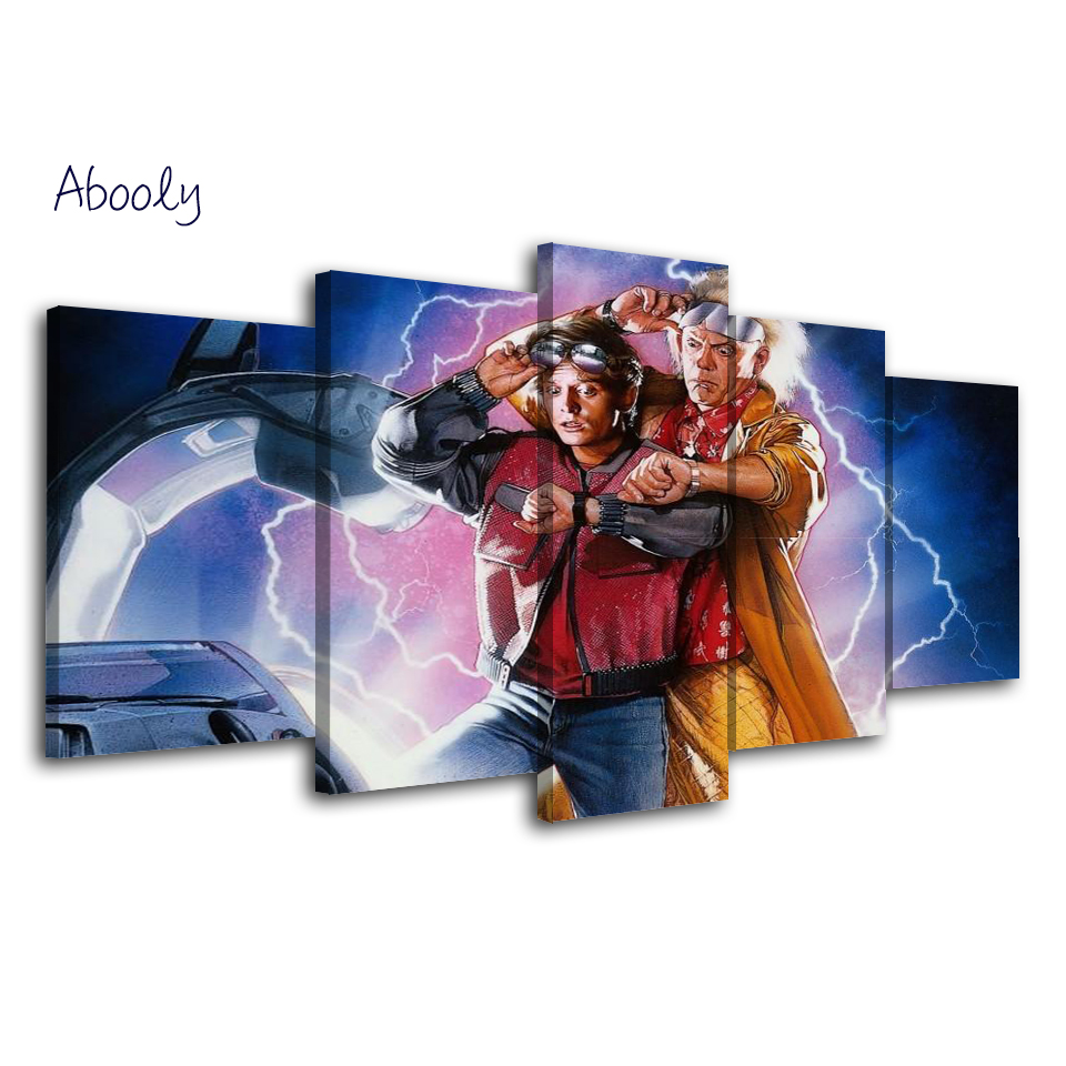 5Piece Wall Picture Printed Art Wall Home Decor Canvas Car Wall Art Back To Future Movie Painting Picture Poster For Living Room