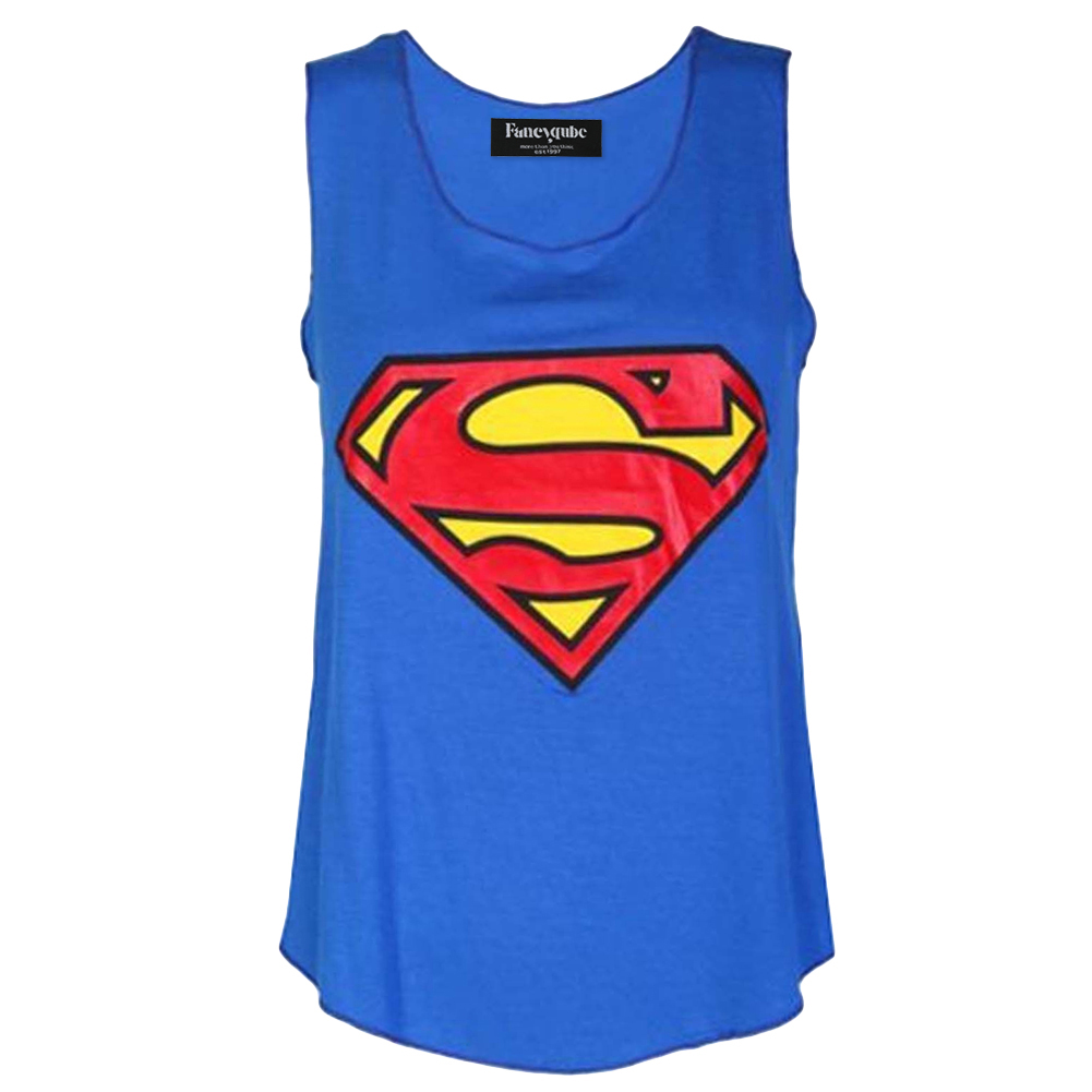 Womens Superman Print Ladies Sleeveless Racer Muscle Vest Top