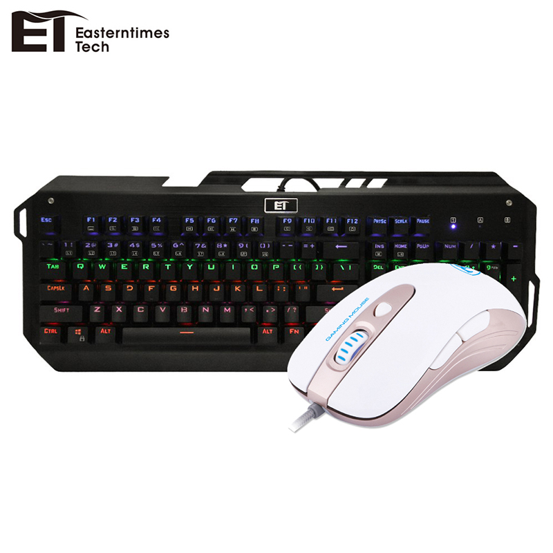 ET Mechanical Keyboard Blue Switch 104 Keys Wired Keyboard Mouse Combo Optical Wired Gaming Mouse for Computer PC Laptop Gamer