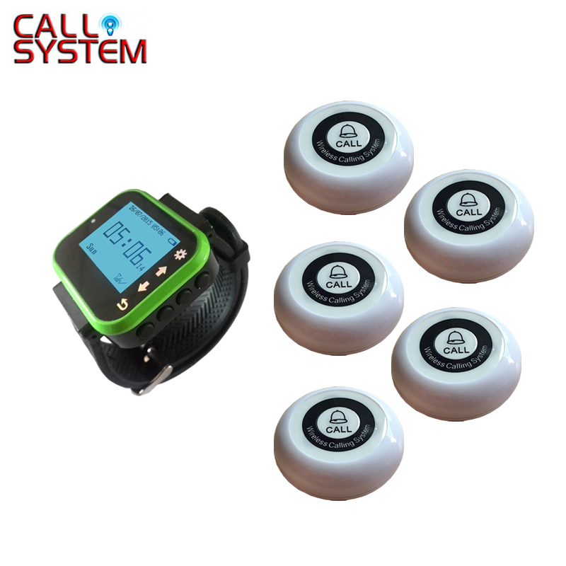 CE Vibrating watch pager system 1 wrist receiver with 5 bell buzzer for restaurant beach cafe use wireless guest pager system for restaurant equipment with 20 table call bell and 1 pager watch p 300 dhl free shipping