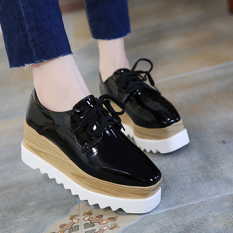 Spring Autumn Women Patent Leather Platform Oxford Shoes Lace Up Wedges Footwear Female Women Casual Derby Shoes Black Apricot