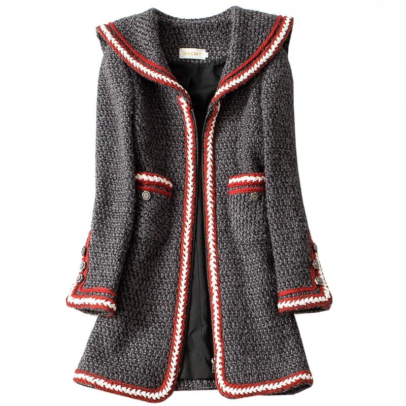 Mode Fonds Petit Vent Femme Vestes Tempérament Hivers Noir Encens Col Nouveau Marine D'automne Manteau RqCzwff