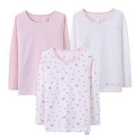 2pcs Lot 2017 New Girls Cotton Undershirts Children Long Sleeve T Shirt Kids Underwear Shirt Teenagers