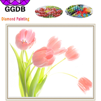 GGDB 2017 New Full Square Diamond Painting Pink Tulips Cross Stitch Dmc Embroidery Crystal Decoration For