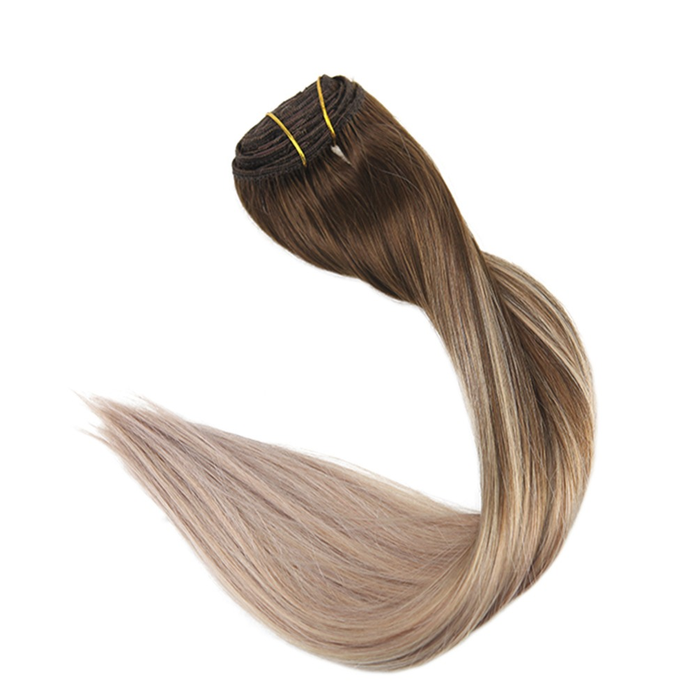 Hair Extensions & Wigs Hair Extensions Full Shine Natural Hair Clip Ins 10pcs Clip In Balayage Hair Extensions Human Hair Double Weft Hair Extensions Color 8 And 60