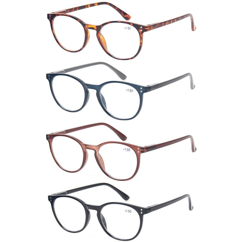 4-pack retro Leesbril dames- en herenveren scharnier ovaal brillen frame kwaliteitslezers 0,5 1,75 2,0 3,0