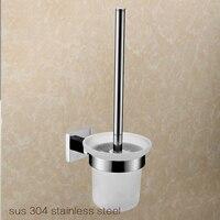 Toilet Brush Tool Holder Với Glass Cup Solid Brass Chrome Kết Thúc Phụ Kiện Phòng Tắm