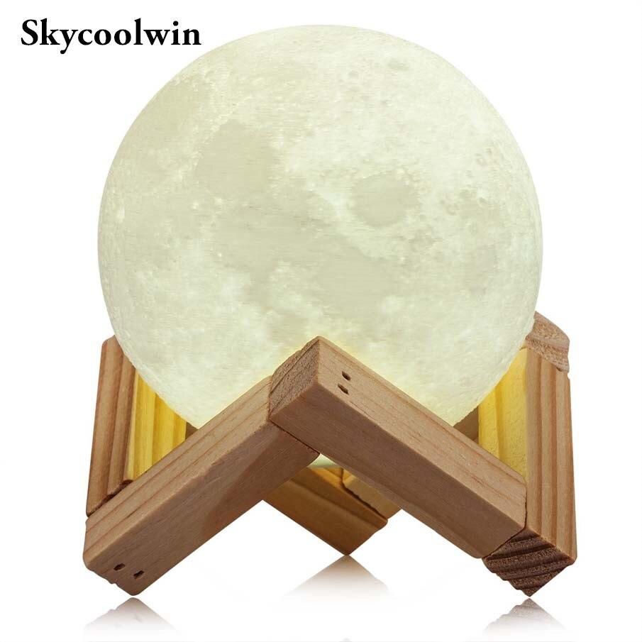 Veilleuse éclairage LED impression 3D lampe de lune chaude contrôle tactile luminosité cadeau pour enfants et équipement Halloween *