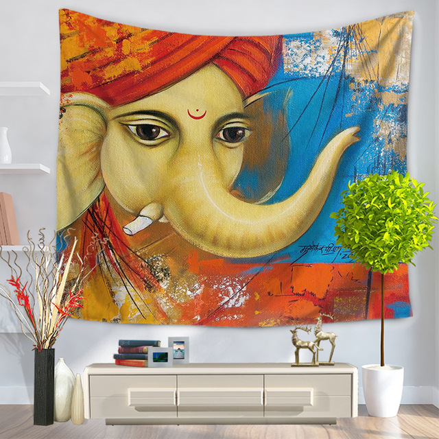 Indian Tapestry Polyester Wall Tapestry Elephant Printed Tapiz Pared Wall Hanging Blankets Mandala Bedspread Hippie Tapestries
