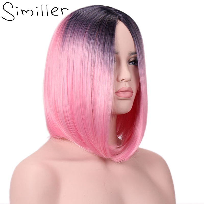 Similler Ombre Afro Women Short Synthetic Wigs Heat Resistance Fiber Hair Wig Two Tones Pink Red Yellow Brown Blue Black Purple