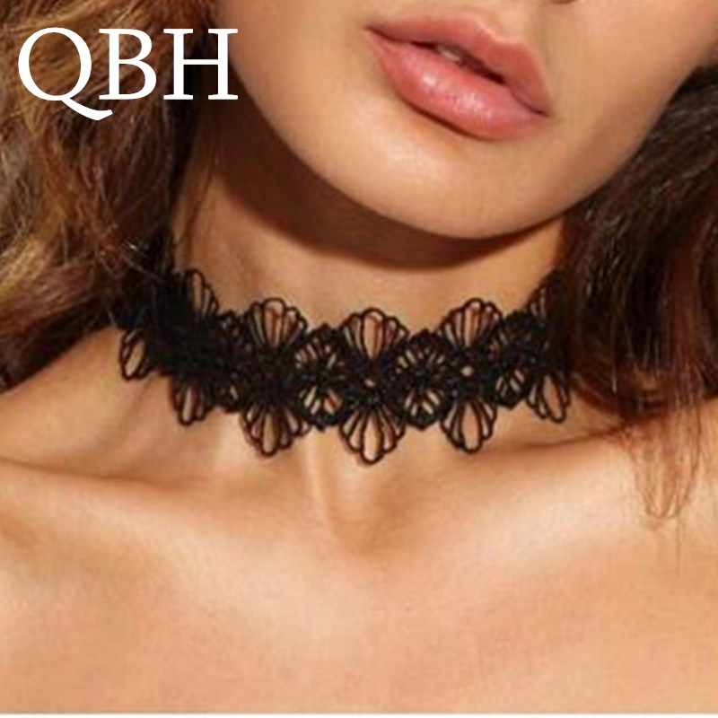 NK210 Punk Gothic Tattoo Sexy Hollow Black Lace Flower Vintage Harajuku Cute Chokers Necklaces Fashion Jewelry For Women Gift