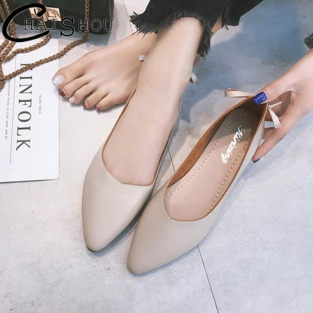 Womens Pointed Toe Vintage Flats Spring summer Fashion Shoes Loafers Slip Casual Shoes PU Leather Butterfly-knot women shoes 198 cresfimix women cute spring summer slip on flat shoes with pearl female casual street flats lady fashion pointed toe shoes
