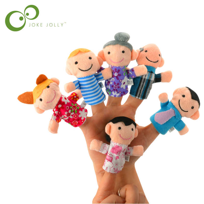 6 Pcs Famiglia Finger Puppets Cloth Baby Doll Educational Mano Toy Story Capretto Del
