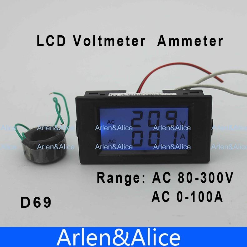 Dual LCD display Voltage and current meter blue backlight panel voltmeter ammeter range AC 80-300V 0-99.9A Black
