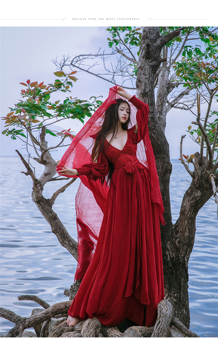 free ship ramie cotton wine red V neck long vintage medieval dress Renaissance princess fairy costume Victorian dress/Marie free ship gou matsuoka long wine red women style anime cosplay wig one ponytail 370f