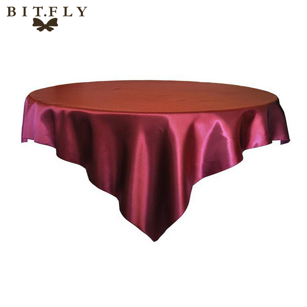 10pcs/Pack 145cm x 145cm / 57 x 57 Square Satin Tablecloth Table Covers For Wedding Party Restaurant Banquet Decorations