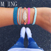 MLING 5 Pcs/Set Bohemian Leaves Bracelet For Women Charm Weave Rope Chain Fashion Summer Jewelry