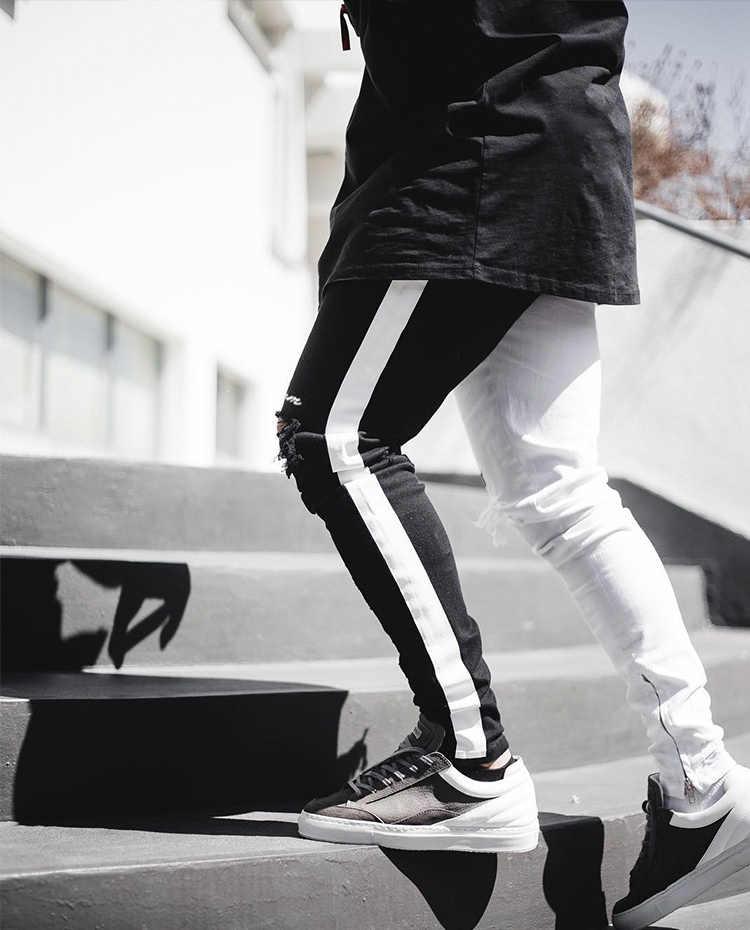 Erkekler şık kot pantolon yırtık Biker Skinny ince düz yıpranmış denim pantolon yeni moda Skinny Jeans erkekler giysi boyutu M-XXXL