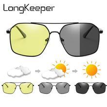 Photochromic Polarized Sunglasses Men Night Vision Glasses Metal Frame Yellow Le