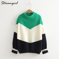 Thicken Sweaters Fashion 2018 Women Loose Warm Sweater Oversize Green Winter Woman Sweater Coarse Knitted Knitting Pullovers