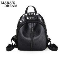 Mara S Dream 2017 Women Backpack Girl Washed Leather Rivets Black Fashion Backpacks For Teenage Women