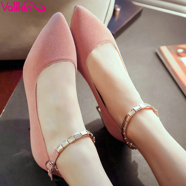 VALLKIN Size 34-43 Pointed Toe Flock Ankle Strap Woman Pumps Sweet Summer Causal Shoes Thick Low Heel Ladies Pink Dating Shoe