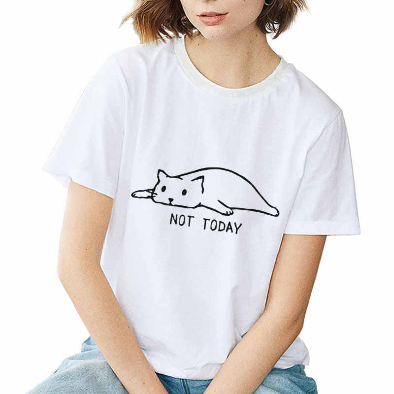 Not Today Cat Print Cute Summer Fashion Top Casual Funny Women Tshirt Vintage Cartoon Tumblr Short Sleeve Casual White T-shirt