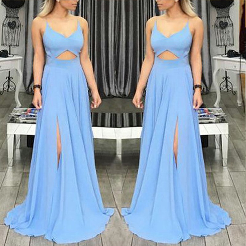 Sexy V-Neck Side Split Long   Bridesmaid     Dresses   2018 Simple Blue Chiffon New Party Gowns Robe De Soiree Prom   Dress   Custom Made
