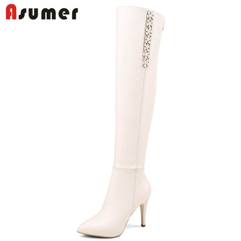 ASUMER 2018 HOT fashion stiletto high heels over the knee boots for women zip genuine leather appliques pointed toe winter boots asumer 2018 hot fashion pointed toe cow suede leather boots stiletto high heels over the knee boots for women zip winter boots